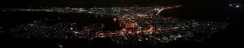 函館山からの夜景 パノラマ写真