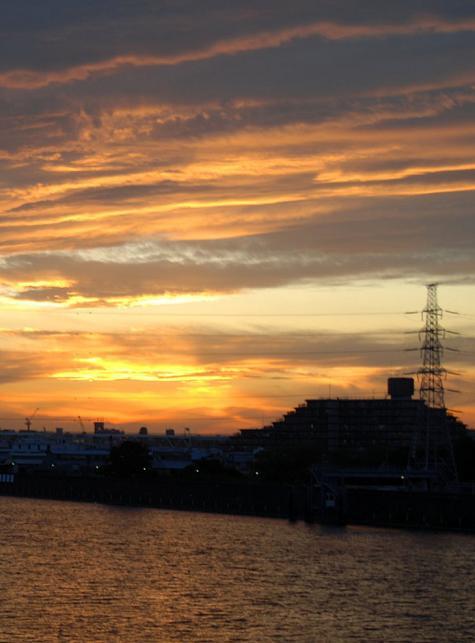 隅田川の向こうに沈んだ夕日が雲に反射する