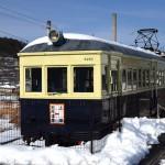 上田電鉄別所線の別所温泉駅に展示されている丸窓電車モハ5250形 冬の岐阜長野温泉巡りの旅 その15