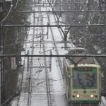 【Tokyo Train Story】雪の日。都電荒川線を俯瞰できる橋の上から