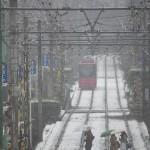 【Tokyo Train Story】高戸橋から雪の都電荒川線を望む