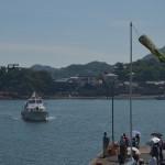 鞆の浦と尾道を結ぶ季節航路の船に乗って鞆の浦の町を海から望む 広島県デスティネーションキャンペーンの旅 その18