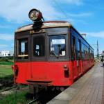 銚子電鉄デハ801と犬吠駅近くにある回転寿司「島武」 銚子日帰り旅行 その3