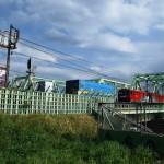 東北本線新河岸川橋梁と貨物駅の北王子駅で撮影する