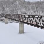 五十里湖にかかる鉄橋で野岩鉄道の撮影をする 冬の鬼怒川温泉への旅 その5