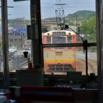松山城をバックにした坊っちゃん列車の撮影とnoma-nomaの生みかんジュース 『四国・九州温泉巡りの旅』 その5