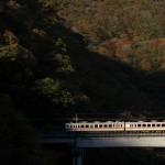 川治温泉の柏屋にはトレインビューの部屋があるので、野岩鉄道が走行する様子がよく見える!『秋の栃木へ 2015』 その8